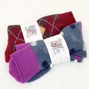 Muk Luks Soft Crew Socks NWT 2 Pair Bundle